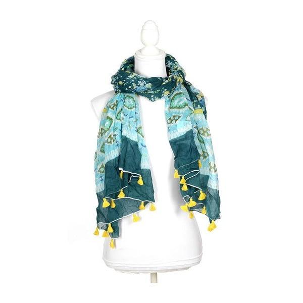 Šatka/pareo BLE Inart 100x180 cm, modrá/zelená