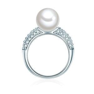 Prsteň v striebornej farbe s bielou perlou Perldesse Muschel, veľ. 52