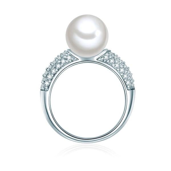 Prsteň v striebornej farbe s bielou perlou Perldesse Muschel, veľ. 54