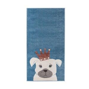 Tmavomodrý koberec s motívom psa KICOTI Blue Dog, 200 × 280 cm