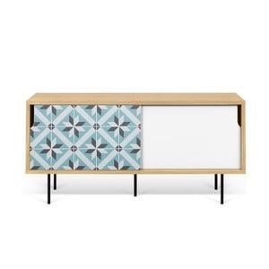 Malý TV stolík z dubového dreva s kovovými nohami TemaHome Dann Makaresh