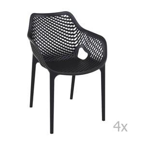 Sada 4 čiernych záhradných stoličiek sopierkami Resol Grid