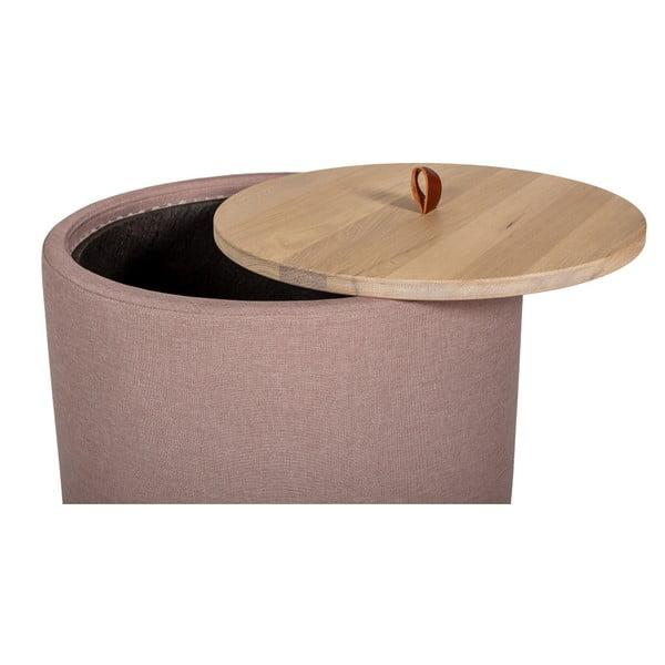Odkladací stolík vo svetloružovej farbe s odnímateľnou doskou z dubového dreva Askala Ibisco, ⌀ 56 cm
