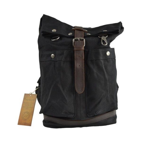 Čierny batoh s koženými detailmi Adventurer