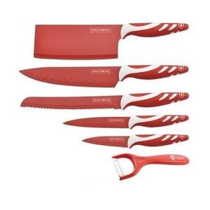6-dielna sada nožov Chef Non-stick Color, červená
