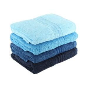 Sada 4 modrých bavlnených uterákov Rainbow Sky, 50 x 90 cm