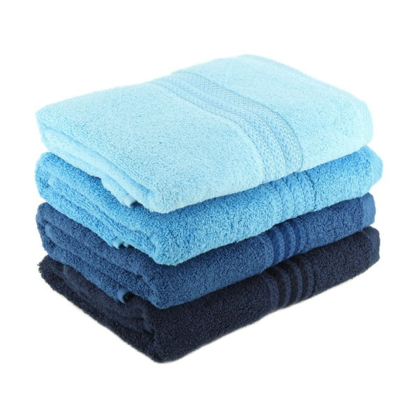 Sada 4 modrých bavlnených uterákov Rainbow Sky, 50×90cm