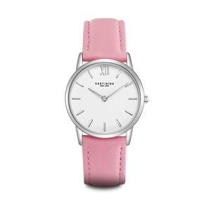 Dámske hodinky s ružovým koženým remienkom a ciferníkom v striebornej farbe Eastside Upper Union