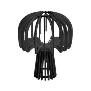 Čierna skladacia drevená stolová lampa Leitmotiv Globular Mushroom