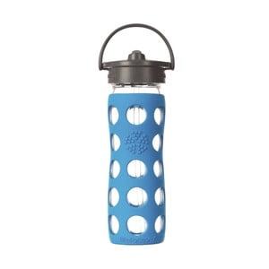 Sklenená fľaša na vodu so silikónovou slamkou a chráničom Lifefactory Ocean, 475 ml