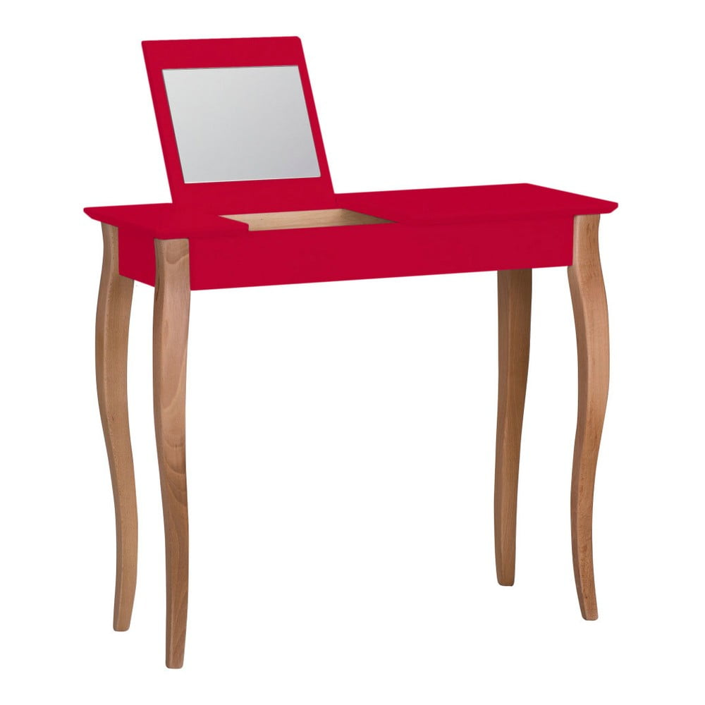 Červený toaletný stolík so zrkadlom Ragaba Lillo, šírka 85 cm