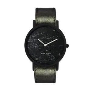 Čierne unisex hodinky s tmavozeleným remienkom South Lane Stockholm Avant Raw