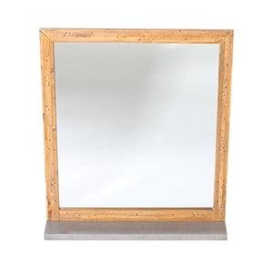 Sivé nástenné zrkadlo z borovicového dreva Woodking Stonewall
