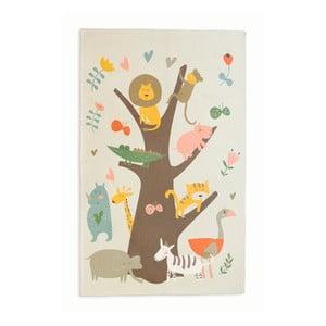 Bavlnený koberček Little Nice Things Animal Tree, 140 x 90 cm