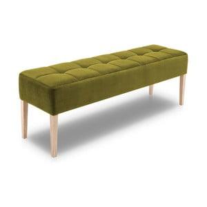 Zelená lavica s dubovými nohami Jakobsen home Marino, dĺžka 152 cm