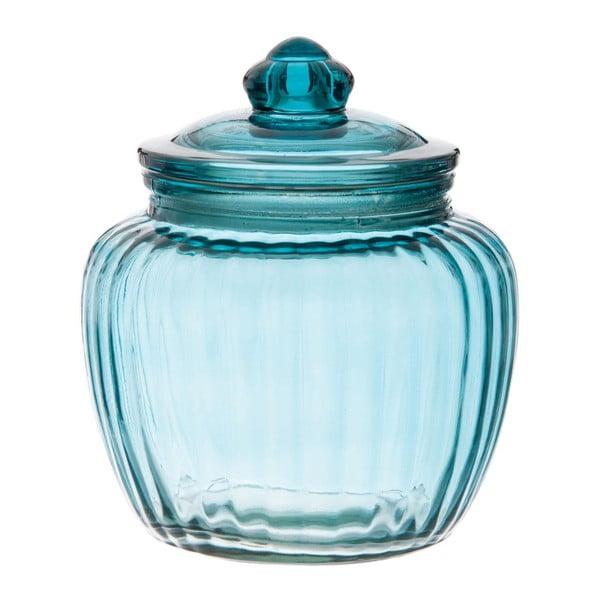 Sklenená dóza Ribbed Blue, 15x17 cm