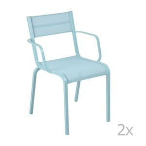 Sada 2 svetlomodrých kovových záhradných stoličiek Fermob Oléron Arms