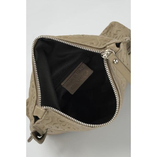 Kožená listová kabelka Curlisana, taupe