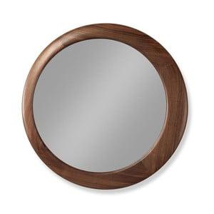 Nástenné zrkadlo s rámom z orechového dreva Wewood - Portugues Joinery Luna, Ø 45 cm