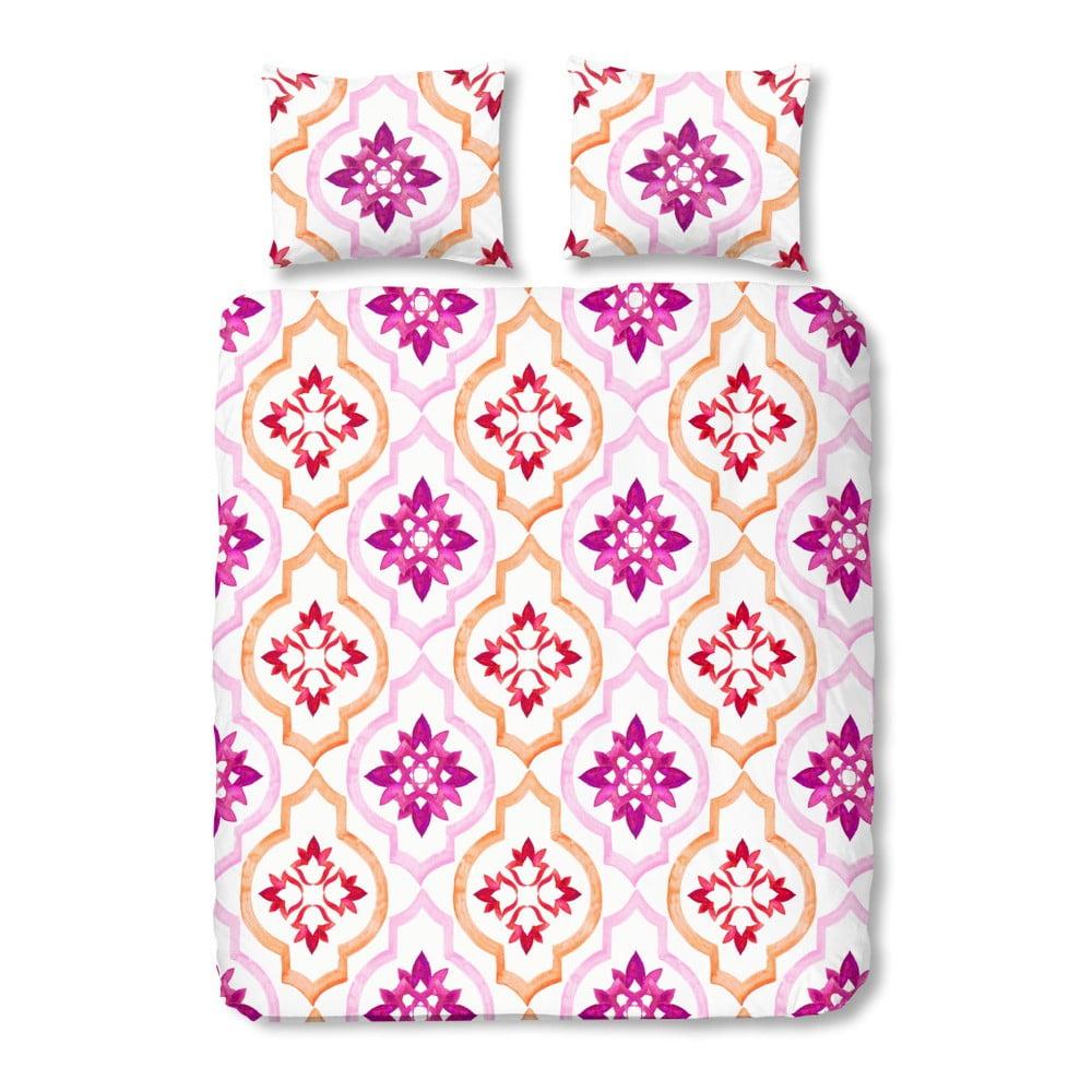 Ružové bavlnené obliečky na dvojlôžko Müller Textiel Tiled, 200 × 200 cm