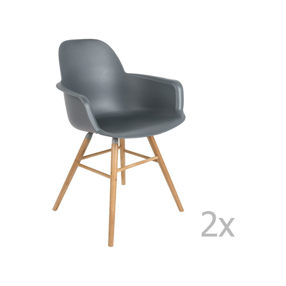 Sada 2 tmavosivých stoličiek s opierkami Zuiver Albert Kuip