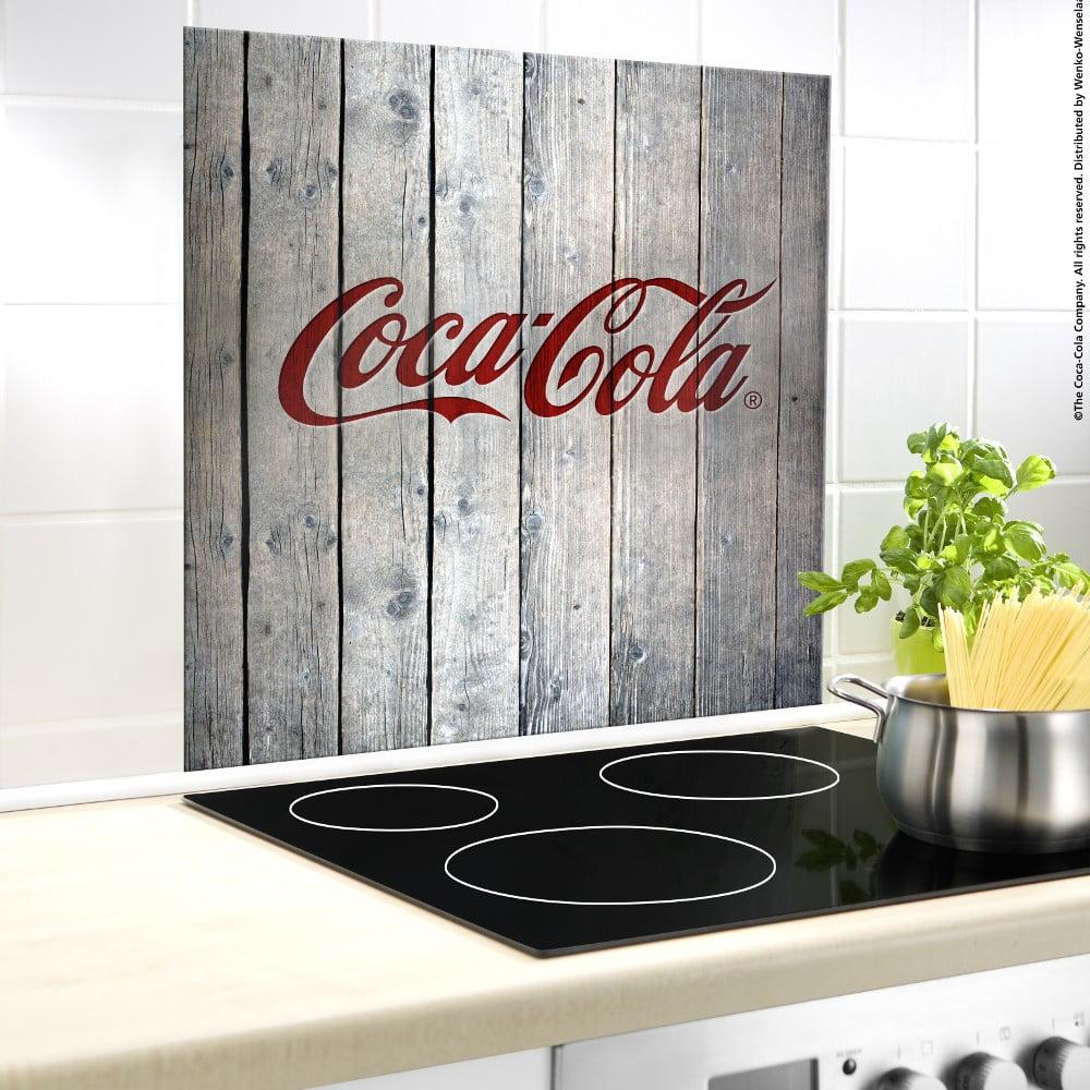 Sklenený kryt na stenu pri sporáku Wenko Coca-Cola Wood, 60 × 50 cm