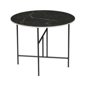 Čierny konferenčný stôl s porcelánovou doskou WOOOD Vida, ⌀ 60 cm