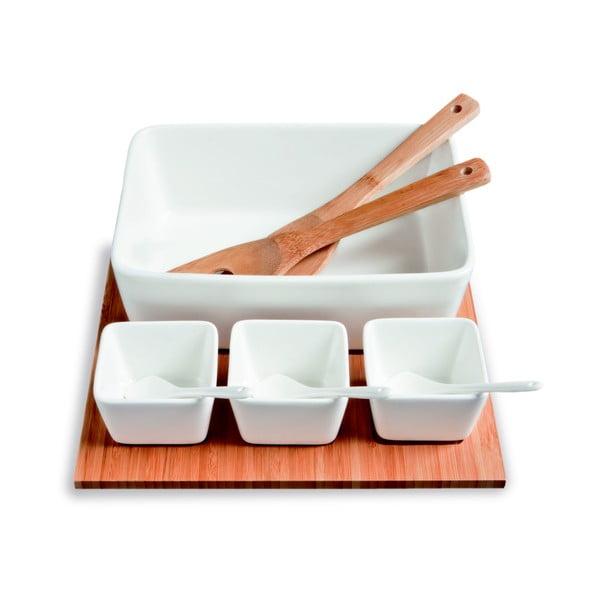 Servírovacie misky s bambusovým podnosom Mythos, 31 x 27 cm