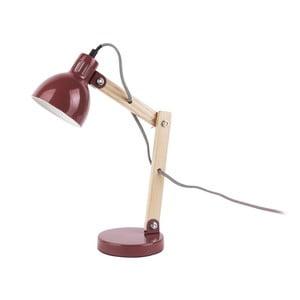Červená stolová lampa s drevenými detailmi Leitmotiv Ogle