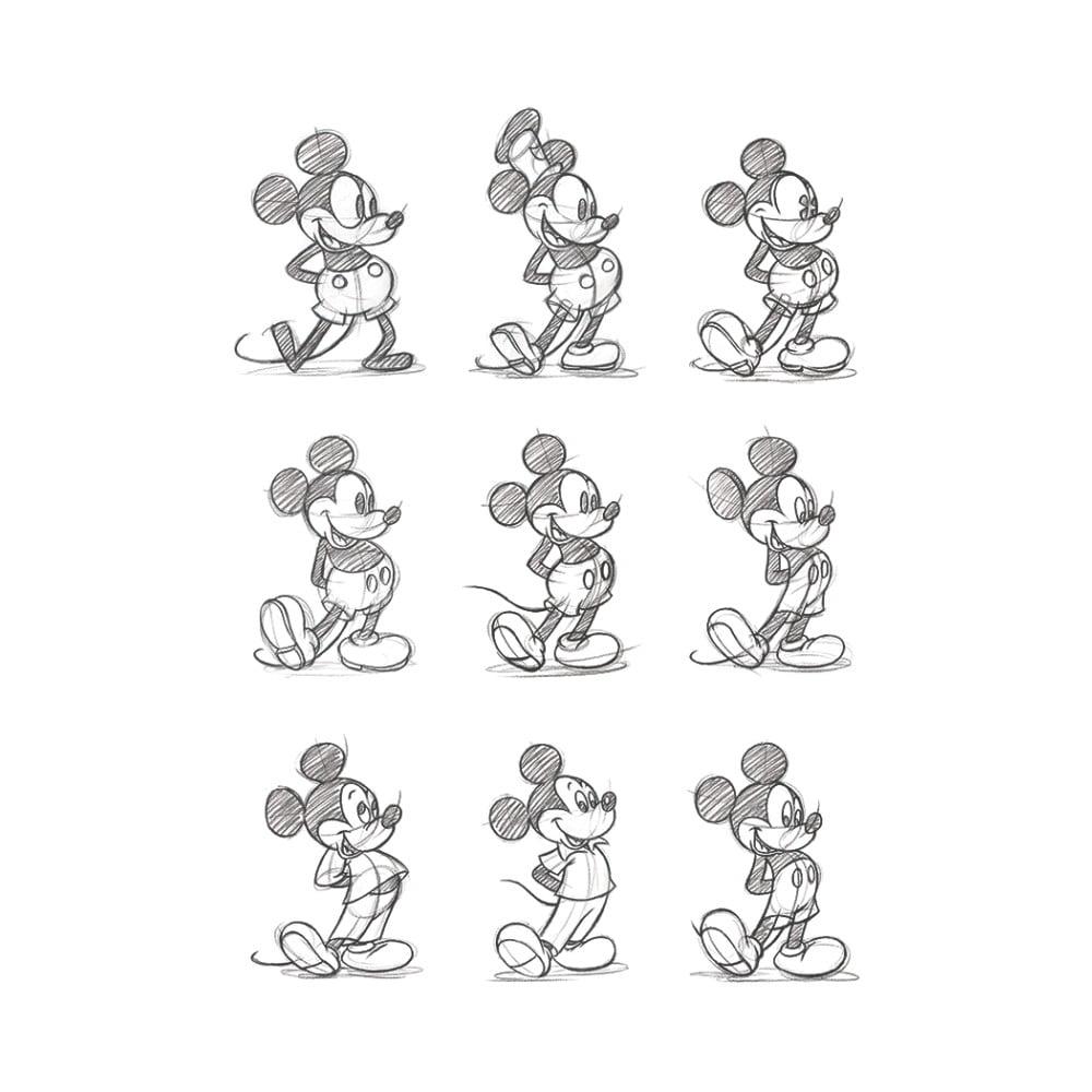 Obraz Pyramid International Mickey Mouse Sketched Multi, 30 × 40 cm