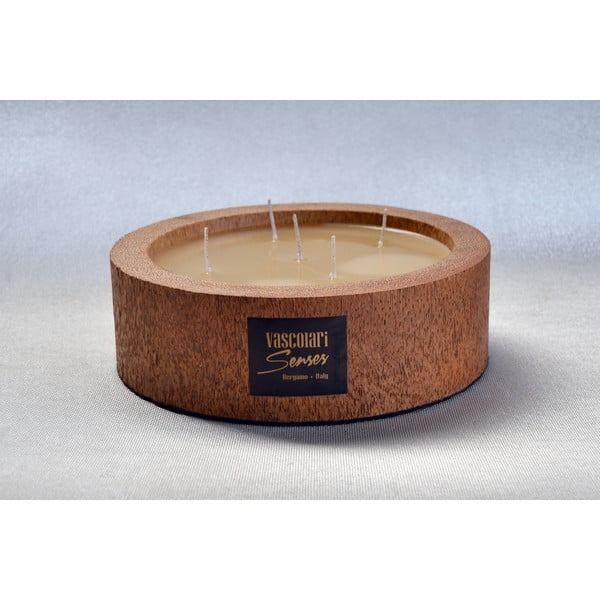 Palmová sviečka Legno Round vôňou medu, 80 hodín horenia