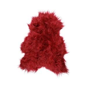 Červená ovčia kožušina s dlhým vlasom Donna, 90 x 50 cm