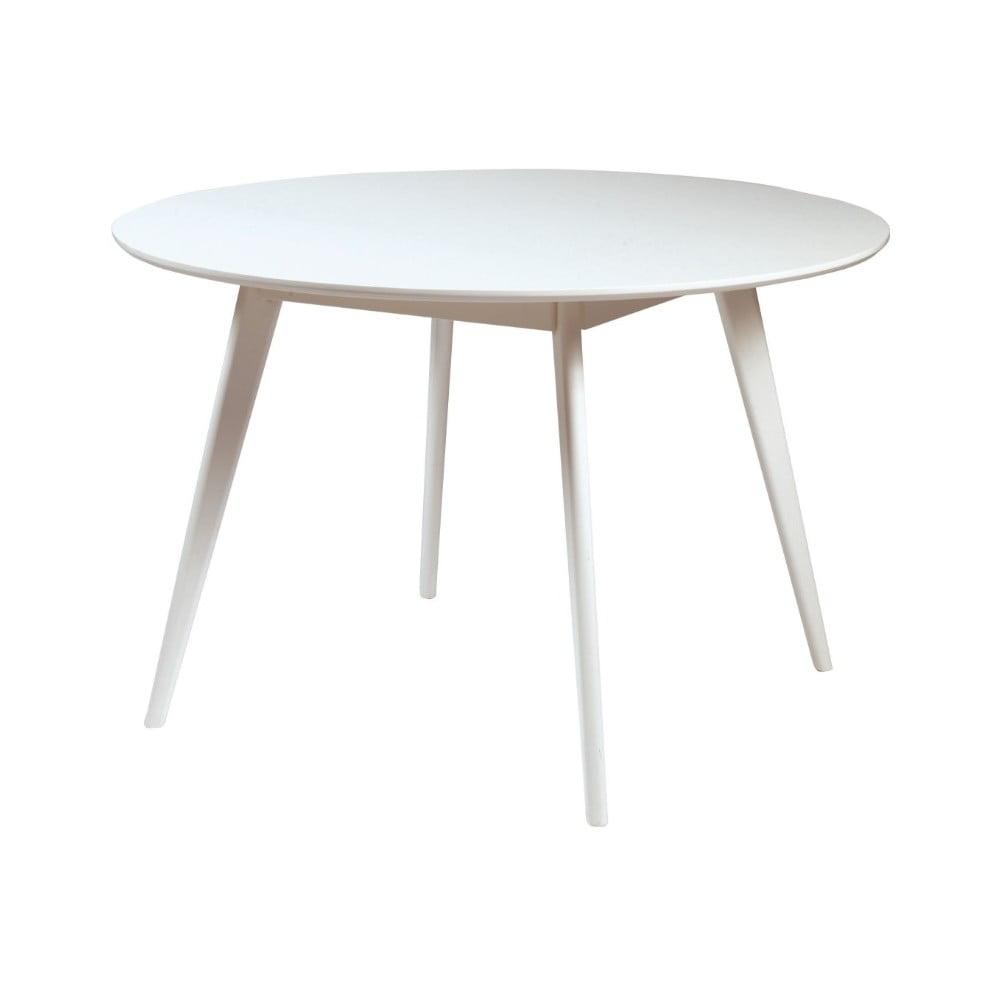 Biely jedálenský stôl z brezového dreva Folke Yumi, ∅ 115 cm