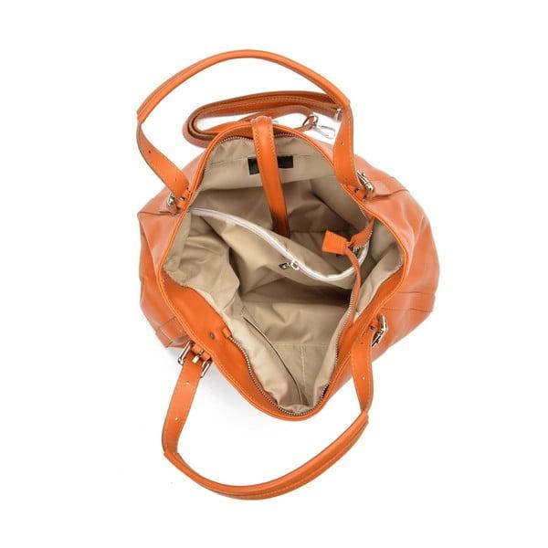 Koňakovohnedá kožená kabelka Carla Ferreri Eva