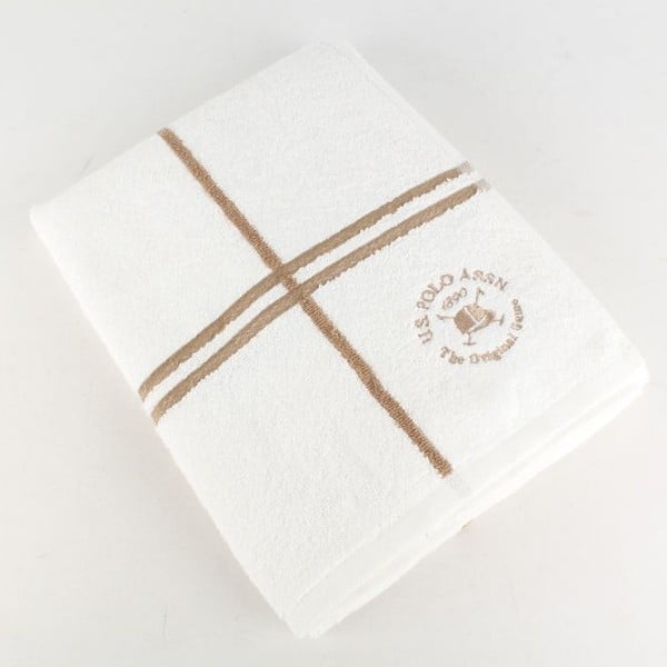 Osuška U.S. Polo Assn. Bath Towel White and Gold, 70x140 cm