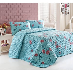 Sada prešívanej prikrývky na posteľ a dvoch vankúšov  Sevval Mint, 200x220 cm