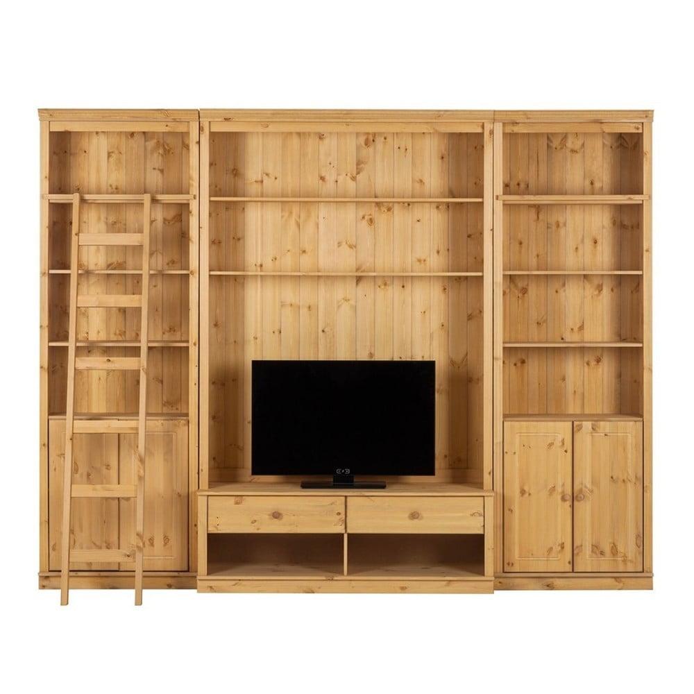 Hnedá TV stena z borovicového masívu Støraa Annabelle, šírka 288 cm