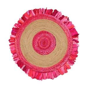 Okrúhly koberec z juty a bavlny Eco Rugs Girl Power, Ø 120 cm