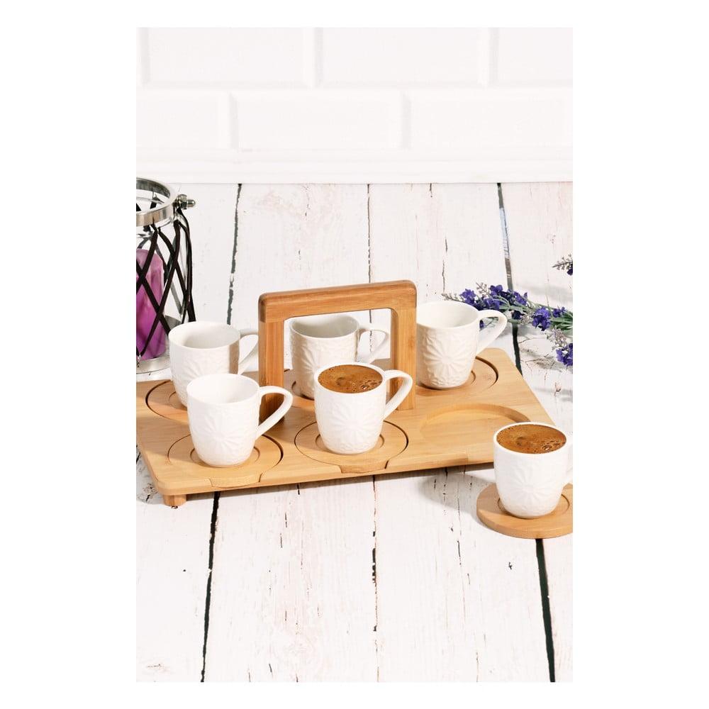 Bambusový podnos s 6 porcelánovými šálky Drink More, 33 × 20 cm