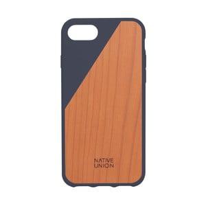 Tmavomodrý obal na mobilný telefón s dreveným detailom pre iPhone 7 a 8 Native Union Clic Wooden