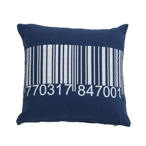 Modrý vankúš Novita Bardcode,45x45cm