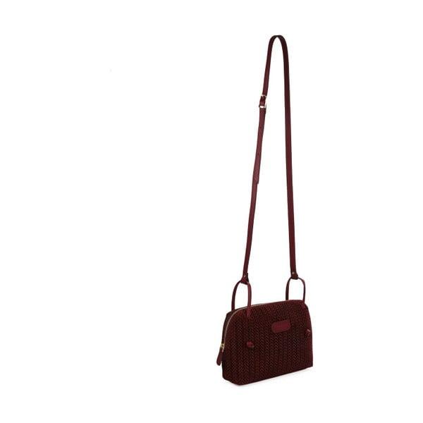 Tmavočervená kožená kabelka Beverly Hills Polo Club Brandy