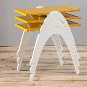 Sada 3 stolíkov Vega Nesting Yellow/White