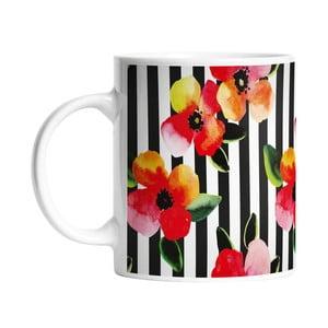 Keramický hrnček Stripes and Flowers, 330 ml