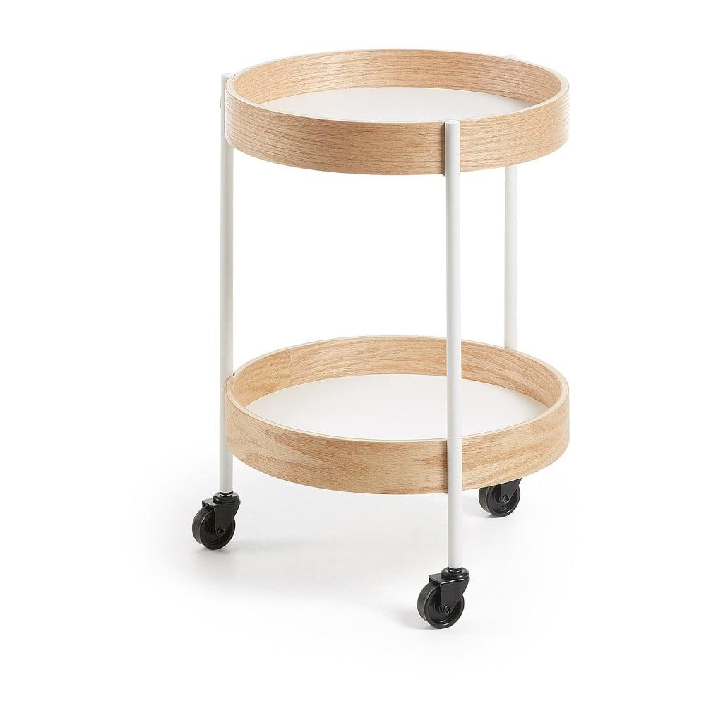 Odkladací stolík na kolieskach La Forma Alban, priemer 40 cm