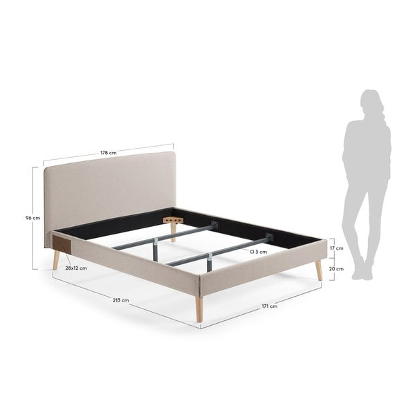 Béžová dvojlôžková posteľ La Forma Lydia, 200×160cm