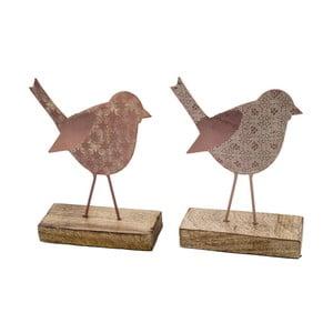 Sada 2 malých ružových dekorácií z posmaltovaného kovu na drevenom podstavci s motívom vtáčika Ego Dekor, 11×16 cm