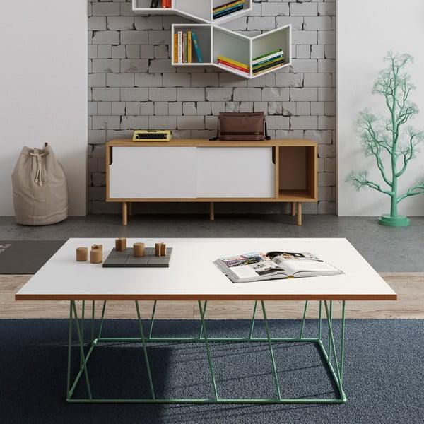 Biely konferenčný stolík so zelenými nohami TemaHome Helix,120cm