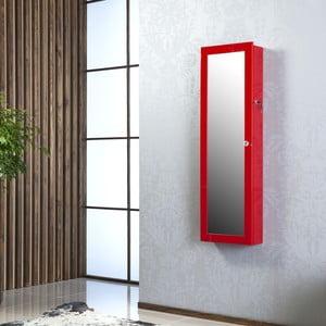 Uzamykateľné závesné zrkadlo so šperkovnicou Melody, červené