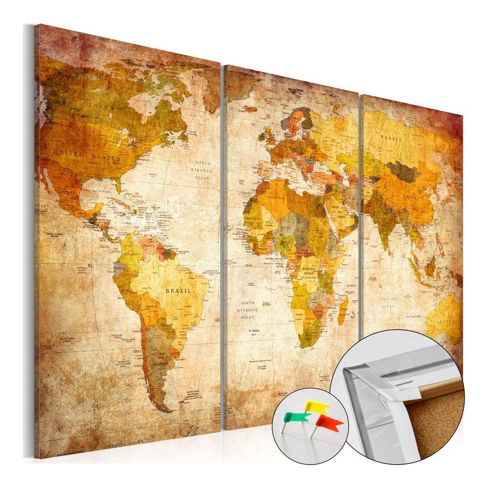 Viacdielna nástenka s mapou sveta Bimago Antique Travel 90 × 60 cm